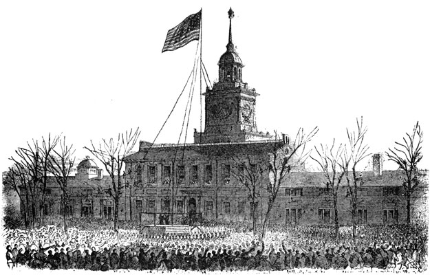 Flag over independence hall
