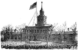 Abraham Lincoln Raises the Flag over Independence Hall